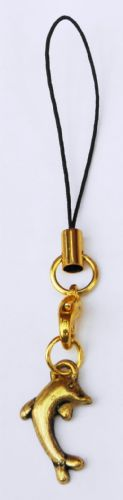 Dolphin Mobile Phone Strap Handbag Gold-Tone Charm